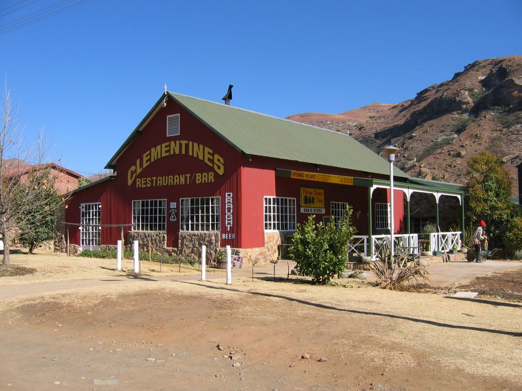 Clementines Restaurant/Bar, Clarens, Free State - Converted bus terminal