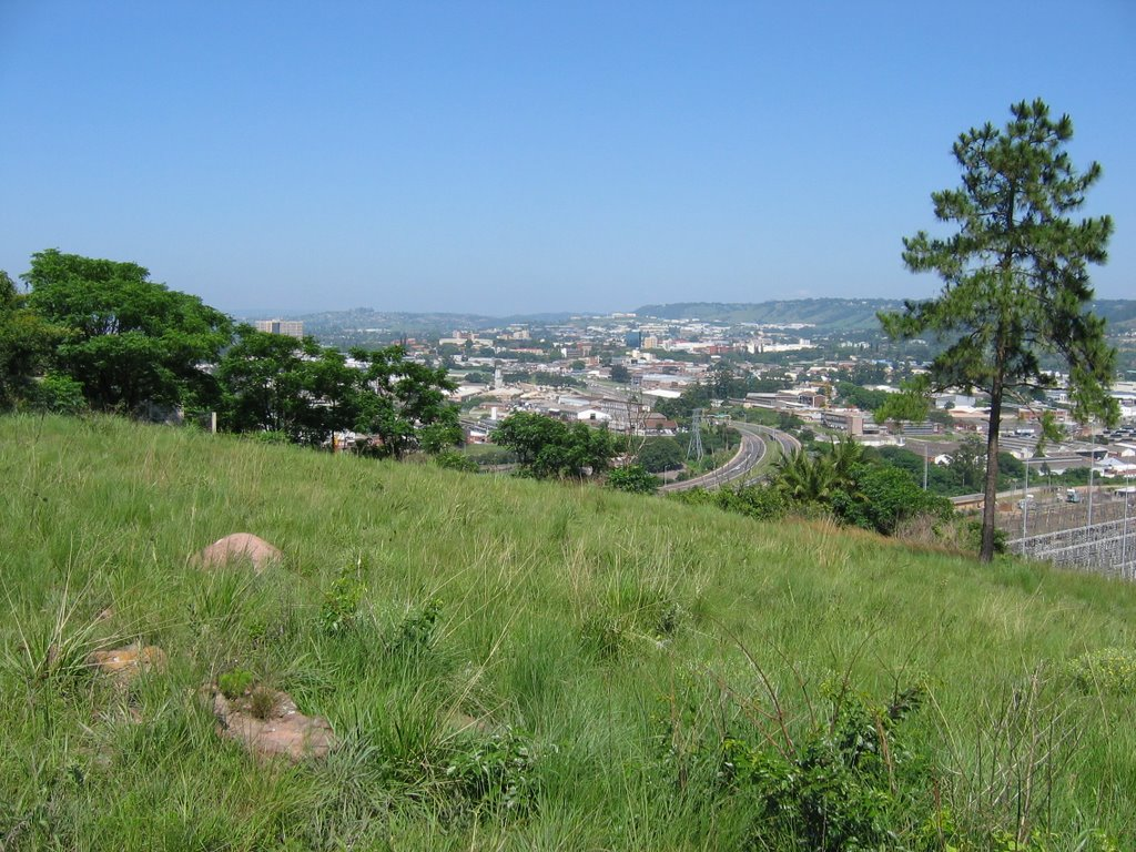 Western view from hill top near New Germany Nature Reserve over Pinetown - KZN Sandstone Suurveld Grassland in foreground