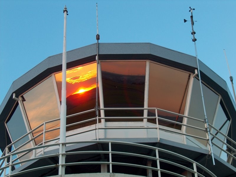 Sunset reflecting in window of Rand Airport Tower