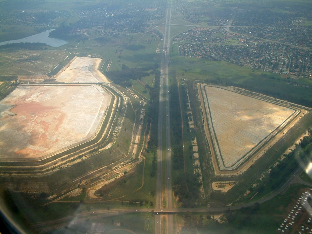 Aerial shot of the ERPM slimes dam in Boksburg on the approuch into ORT International Airport