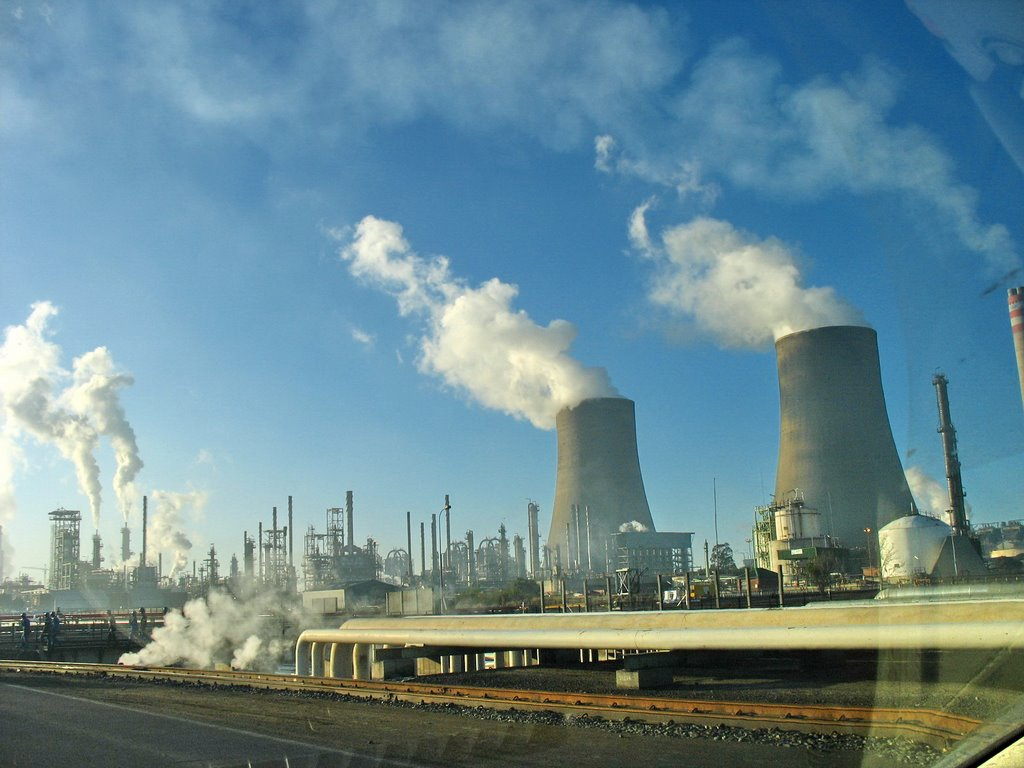 Two huge cooling towers at Sasol Oil Refinery