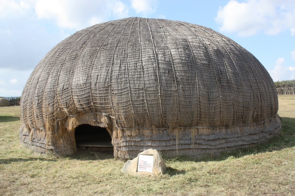 Reconstructed large hut or indlu of inkosi Cetshwayo ka Mpande, at Ondini - original burned to ground by British on 4 July 1879 following the Battle of Ulundi - note low entrance doorway facing away from perimetre of the  isigodlo (royal enclosure).