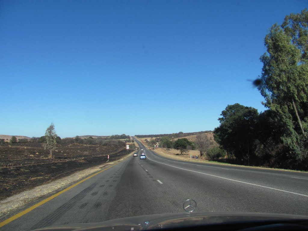 The road between Carltonville and Fochville in the North Western Province South Africa